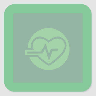 Healthy Heart Workout Graphic Square Sticker