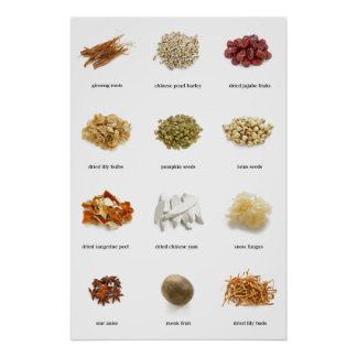 Healthy herbs and spices list poster healing love