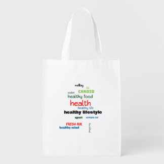 Healthy Lifestyle Word Cloud Reusable Grocery Bag