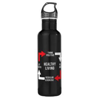 Healthy Living Diagram - Fitness Motivational 710 Ml Water Bottle