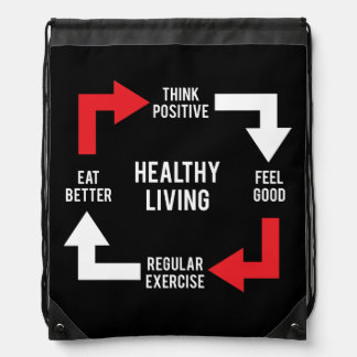 Healthy Living Diagram - Fitness Motivational Drawstring Bag