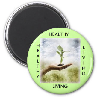 HEALTHY, LIVING, HEALTHY 6 CM ROUND MAGNET