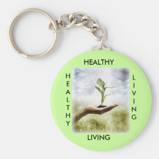 , HEALTHY, LIVING, HEALTHY... - Customized Basic Round Button Key Ring