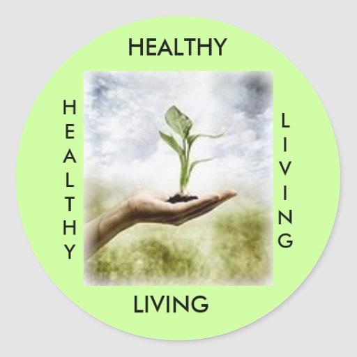 HEALTHY, LIVING, HEALTHY... ROUND STICKERS