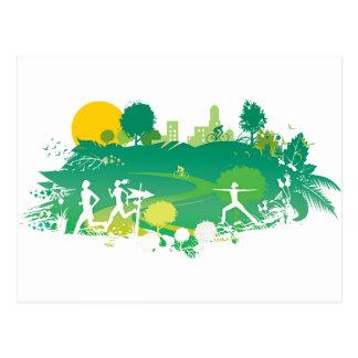 Healthy Living Scene Postcards