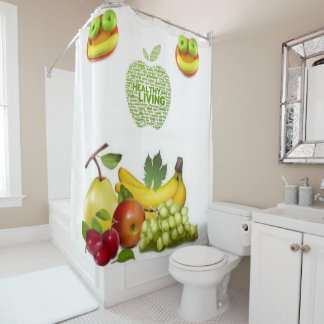 Healthy living shower curtain