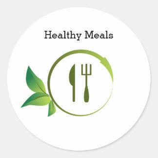 Healthy Organic Meals Leaf Utensil Circle Sticker