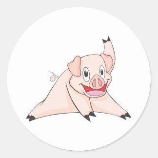 Healthy Pig Round Sticker