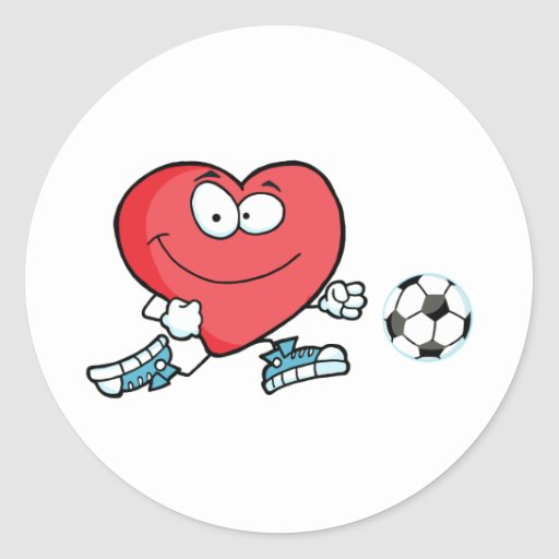 Healthy Red Heart Playing With Soccer Ball Sticker