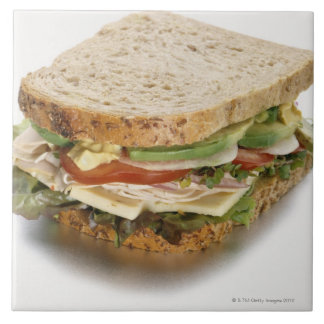 Healthy sandwich large square tile