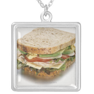 Healthy sandwich silver plated necklace
