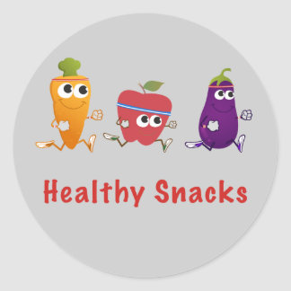 Healthy Snacks Round Sticker