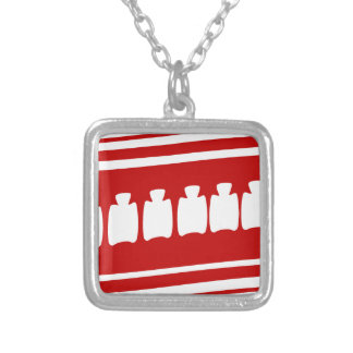 Healthy Spine People Banner Square Pendant Necklace