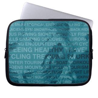 Healthy Trekking Surfer Typography Teal Wet Suit Laptop Sleeve