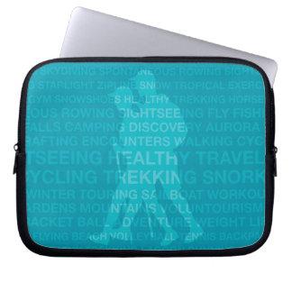 Healthy Trekking Typography Turquoise Wet Suit Laptop Sleeve