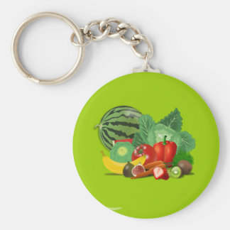 healthy_Vector_Clipart FRUITS VEGETABLES gardening Basic Round Button Key Ring