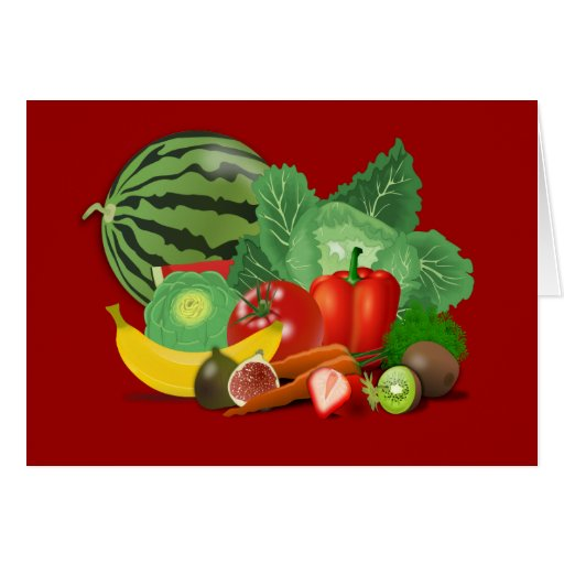 healthy_Vector_Clipart FRUITS VEGETABLES gardening Greeting Card