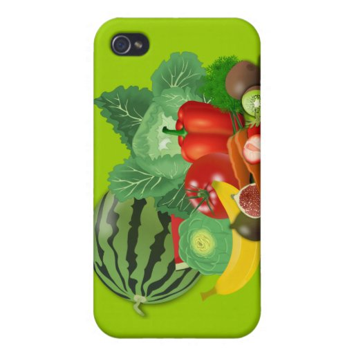 healthy_Vector_Clipart FRUITS VEGETABLES gardening iPhone 4 Cover