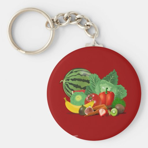 healthy_Vector_Clipart FRUITS VEGETABLES gardening Keychains