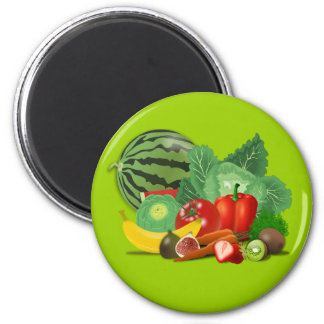 healthy_Vector_Clipart FRUITS VEGETABLES gardening Fridge Magnet