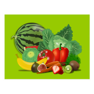 healthy_Vector_Clipart FRUITS VEGETABLES gardening Postcard