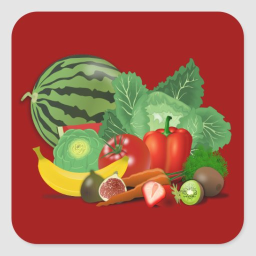 healthy_Vector_Clipart FRUITS VEGETABLES gardening Square Stickers