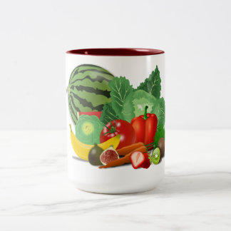 healthy_Vector_Clipart FRUITS VEGETABLES gardening Two-Tone Mug