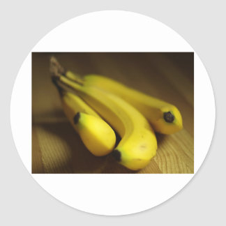 HEALTHY YELLOW BANANAS ROUND STICKER
