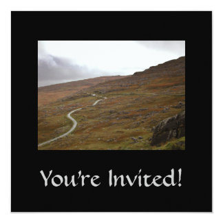 """Healy Pass, Winding Road in Ireland. 5.25"""" Square Invitation Card"""