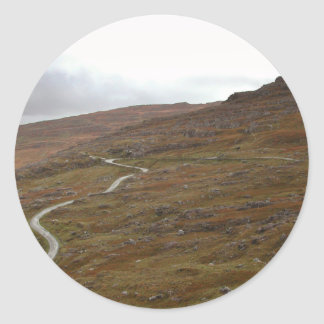 Healy Pass, Winding Road in Ireland. Round Sticker