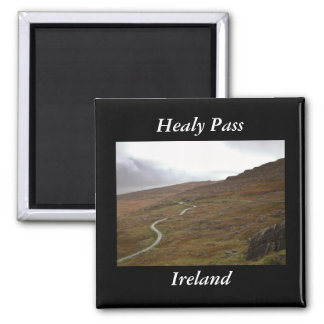 Healy Pass, Winding Road in Ireland. Square Magnet