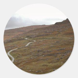 Healy Pass Winding Road in Ireland Round Stickers