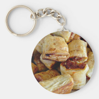 Heaps of sausage rolls basic round button key ring