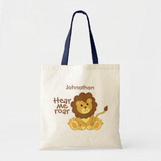 Hear Me Roar Lion Personalized Tote Bag