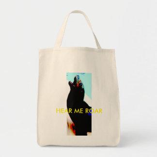 """HEAR ME ROAR"" reusable grocery bag Cali sea lion"