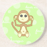 Hear No Evil - Cute Monkey Cartoon Sandstone Coaster
