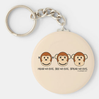 Hear No Evil Monkeys Basic Round Button Key Ring