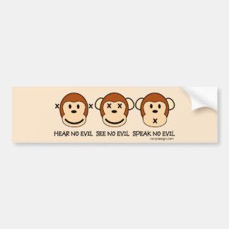 Hear No Evil Monkeys Bumper Sticker