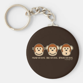 Hear No Evil Monkeys Cartoon Basic Round Button Key Ring