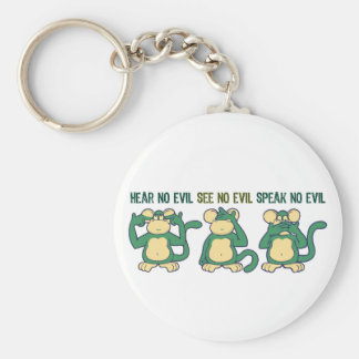 Hear No Evil Monkeys Greens Basic Round Button Key Ring