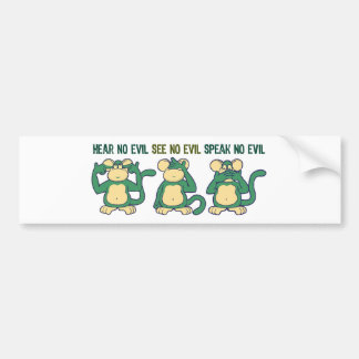 Hear No Evil Monkeys Greens Bumper Sticker