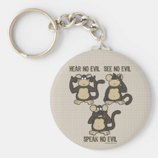 Hear No Evil Monkeys - New Basic Round Button Key Ring