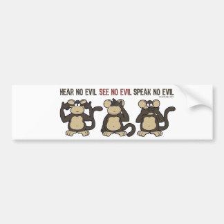 Hear No Evil Monkeys - New Bumper Sticker