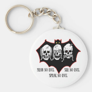 Hear no evil, see no evil, speak no evil Keychain