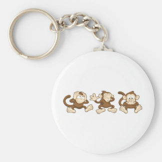 hear no evil, see no evil, speak no evil monkeys basic round button key ring
