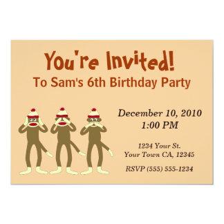 Hear no Evil Sock Monkey Party Invitations
