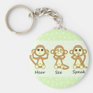 Hear No See No Speak No Evil - Cute Baby Monkeys Basic Round Button Key Ring