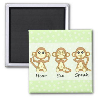 Hear No See No Speak No Evil - Cute Baby Monkeys Magnet