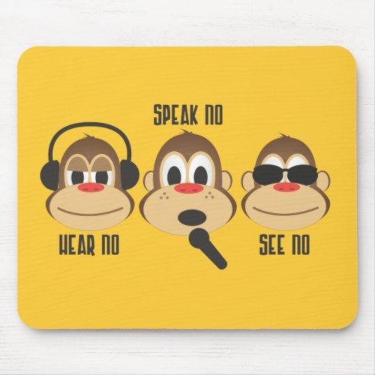 Hear No Speak No See No Mouse Pad