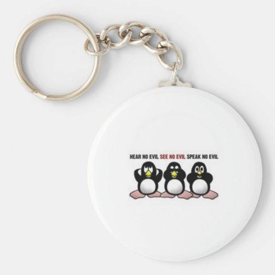 Hear See Speak No Evil Penguins Basic Round Button Key Ring